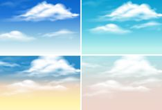 Four background scenes with clouds in blue sky Stock Photography