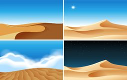 Four background scenes of deserts at different times. Illustration Royalty Free Stock Photo