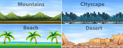 Four background scenes of different places. Illustration Royalty Free Stock Photo