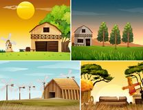 Four background scenes of farmyards Stock Photos
