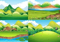Four background scenes with green field and river. Illustration Stock Photos