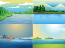 Four background scenes with lake and hills Royalty Free Stock Images