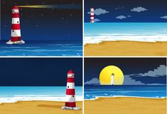 Four background scenes with lighthouse in the ocean. Illustration Stock Photo