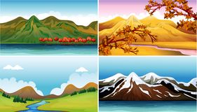 Four background scenes with mountains Royalty Free Stock Images