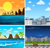 Four background scenes of ocean and city. Illustration Stock Images
