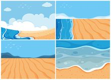 Four background scenes of ocean. Illustration Royalty Free Stock Photo