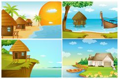 Four background scenes with ocean and river. Illustration Stock Photo