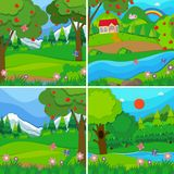 Four background scenes of orchards and woods Stock Images