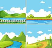 Four background scenes with park at day time. Illustration Stock Photography