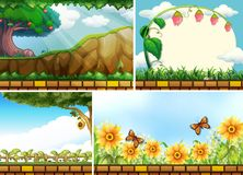 Four background scenes of parks Royalty Free Stock Image
