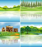 Four background scenes with reflections on river Royalty Free Stock Photography