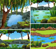 Four background scenes with river in forest Royalty Free Stock Image