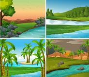 Four background scenes of rivers and field Stock Photography