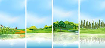 Four background scenes with trees on the hills Royalty Free Stock Image