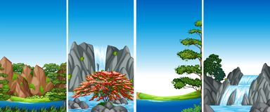 Four background scenes with waterfall and river. Illustration Royalty Free Stock Photography