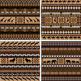 Four backgrounds with African motifs and animals. Backgrounds with African motifs and animals Stock Images