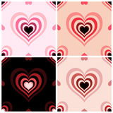 Four backgrounds with hearts. Four seamless texture  with hearts, retro style vector illustration