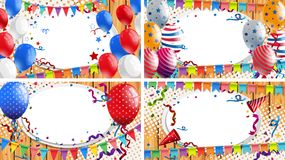 Four backgrounds with party theme. Illustration Stock Photography