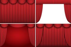 Four backgrounds with red theater curtains. Stock Images