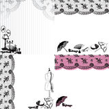 Four backgrounds with vintage accessories. Four patterns with lace and retro still life stock illustration