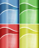 Four backgrounds with wavy line and dots. Illustration Royalty Free Stock Photo