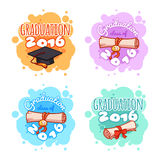 Four badges for 2016 graduation ceremony. Vector cartoon stickers in light colors Stock Images