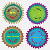 Four Badges. Four vector badges created in Adobe Illustrator Stock Images