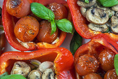 Four baked peppers with basil, cherry and champignons Royalty Free Stock Image