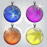 Four ball decoration with star motive Stock Photo