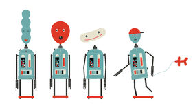 Four balloon head robots Stock Images
