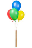 Four balloons isolated. Stick with four colorful balloons Stock Images