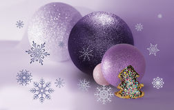 Four balls, bisquit and snowflakes Stock Photo