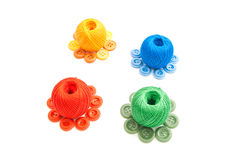 Four balls of yarn and buttons Stock Image