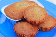 Four banana muffin cakes Royalty Free Stock Photo