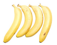 Four bananas. Isolated over white background Stock Image