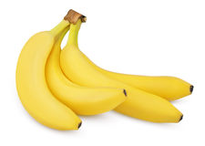 Four bananas isolated on white Stock Photos