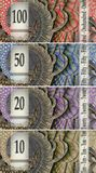 Four banknotes. With the value of ten, twenty, fifty and one-hundred Royalty Free Stock Image