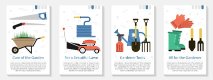 Four banner for gardener Stock Images