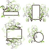 Four Banner Set. With Floral Ornament and Butterfly Stock Image