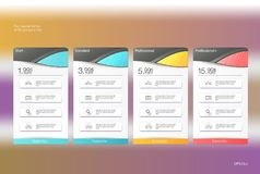 Four banner for the tariffs and price lists. Web elements. Plan hosting. Vector design for web app. Four banner for the clouded sky service. Price list vector illustration