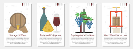 Four banner for wine production Royalty Free Stock Photos