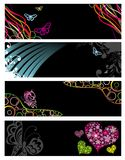 Four banners with butterflies Stock Images
