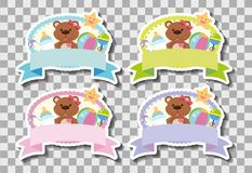 Four banners with cute teddybears stock illustration