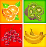 Four banners with fruits Stock Images