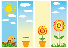 Four banners for gardening. Stock Image