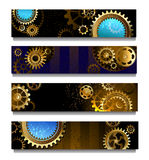 Four banners with gears. Four rectangular horizontal banner with brass and gold gears Stock Photography