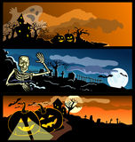 Four banners by a holiday halloween Royalty Free Stock Images