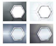 Four banners with polygons Stock Images