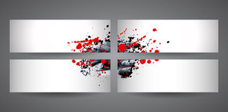 Four banners with red and black abstract spray paint. Crumpled paper background. Royalty Free Stock Photography