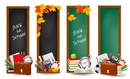 Four banners with school supplie Royalty Free Stock Photography